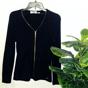 Calvin Klein Black Long Sleeve Top Gold Zipper